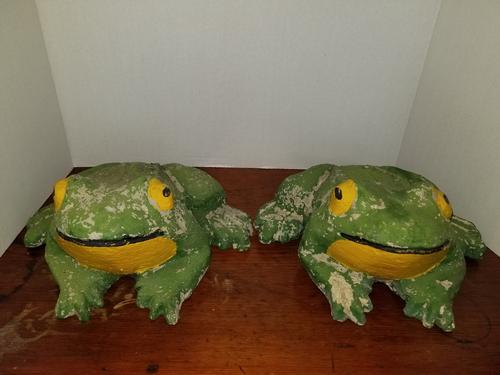 Pair Of Cement Frogs